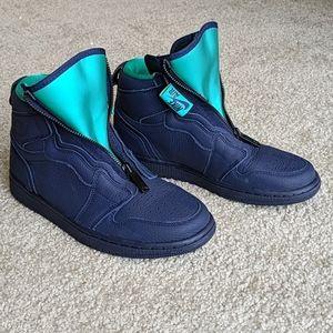 Nike Air Jordan 1 blue leather high zip sneakers 8